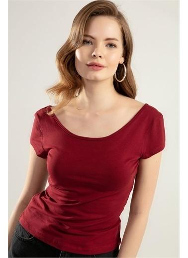 Pattaya Pattaya Kadın Geniş Yaka Kısa Kollu Tişört Y20S126-10534 Renkli